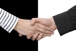 Shake hands of opposites